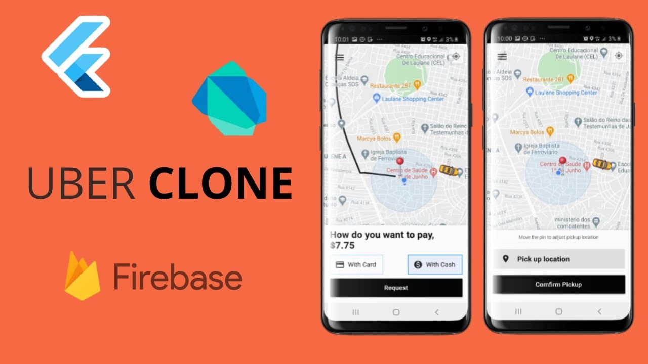 Flutter uber clone with backend and driver app | Flutter Taxi app