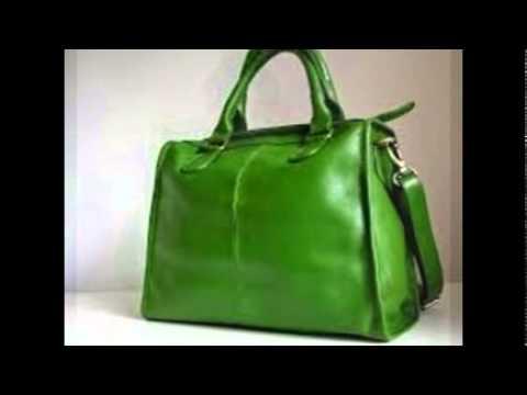 Green leather handbag - YouTube