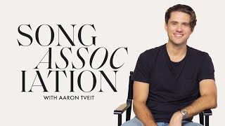 Aaron Tveit Sings *NSYNC, Johnny Cash, and U2 in a Game of Song Association | ELLE
