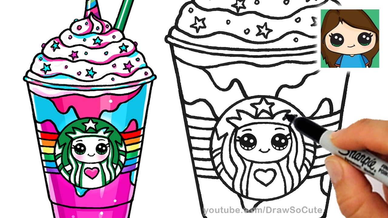 how to draw a starbucks unicorn frappuccino youtube