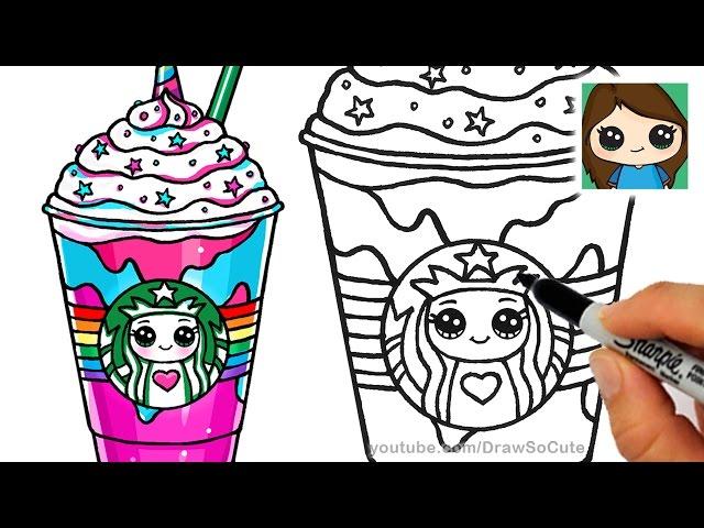 how to draw a starbucks unicorn frappuccino clipzui
