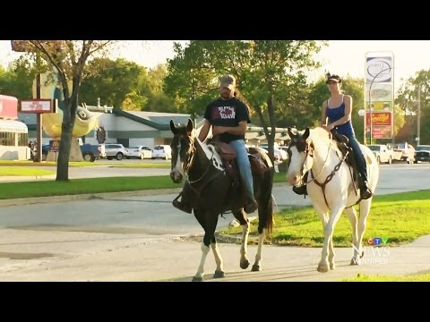 Hold your horses: Couple told to skip drive-thru