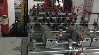 aluminium foil container machine lk-t63 with 2 cavity mould and 4 way stacker