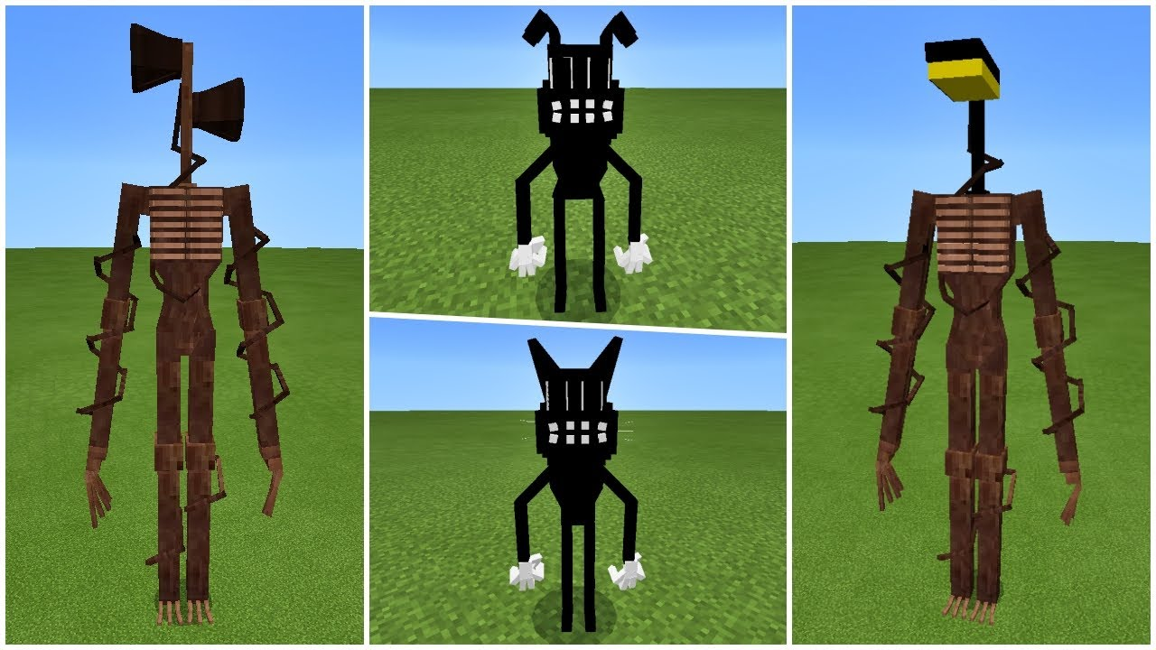 Trevor Henderson's Creatures: Cartoon Cat, Cartoon Dog, Siren Head, Light Head in Minecraft PE Addon