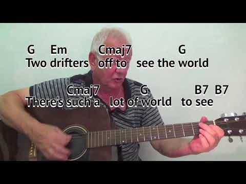 Moon River - acoustic cover - G major - easy chord guitar lesson with on-screen chords and lyrics