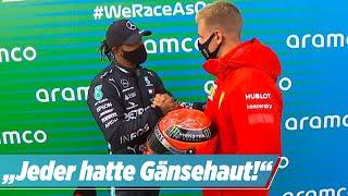 Nürburgring: Mick Schumacher schenkt Lewis Hamilton Schumis Helm