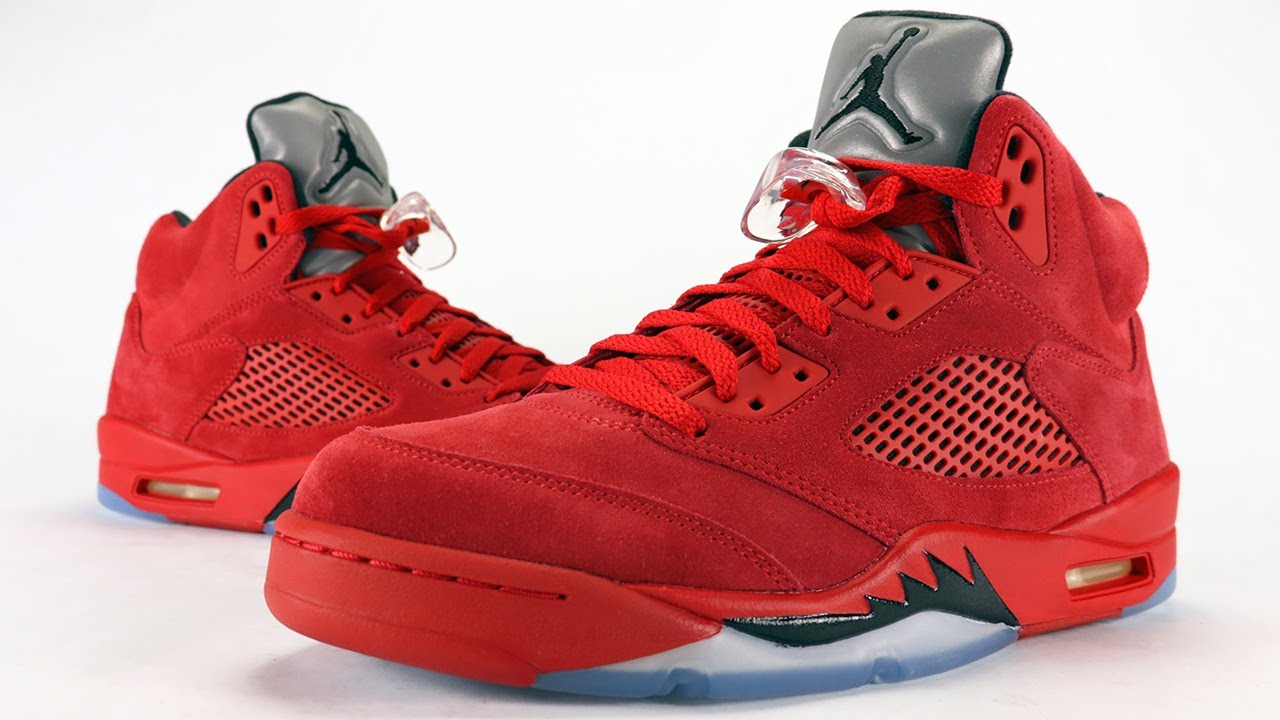 09bd70c3682 Air Jordan 5 Red Suede Flight Suit Review + On Feet - YouTube