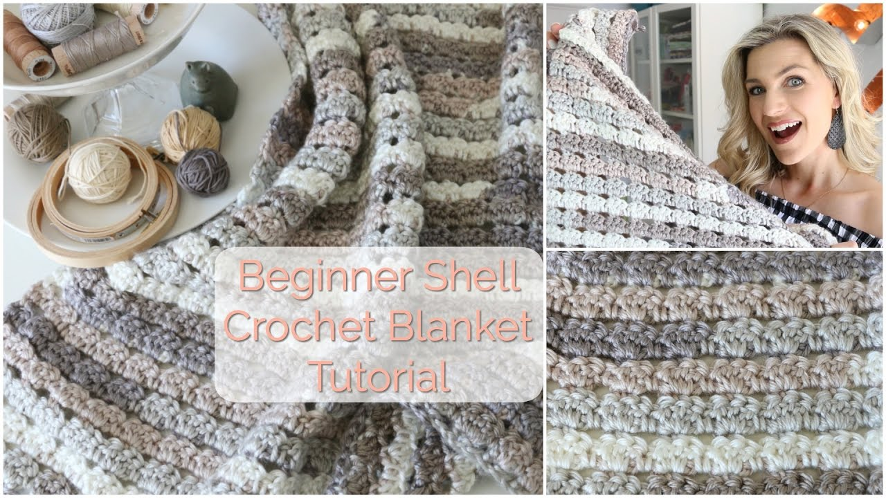 Beginner Shell Crochet Blanket Tutorial Youtube