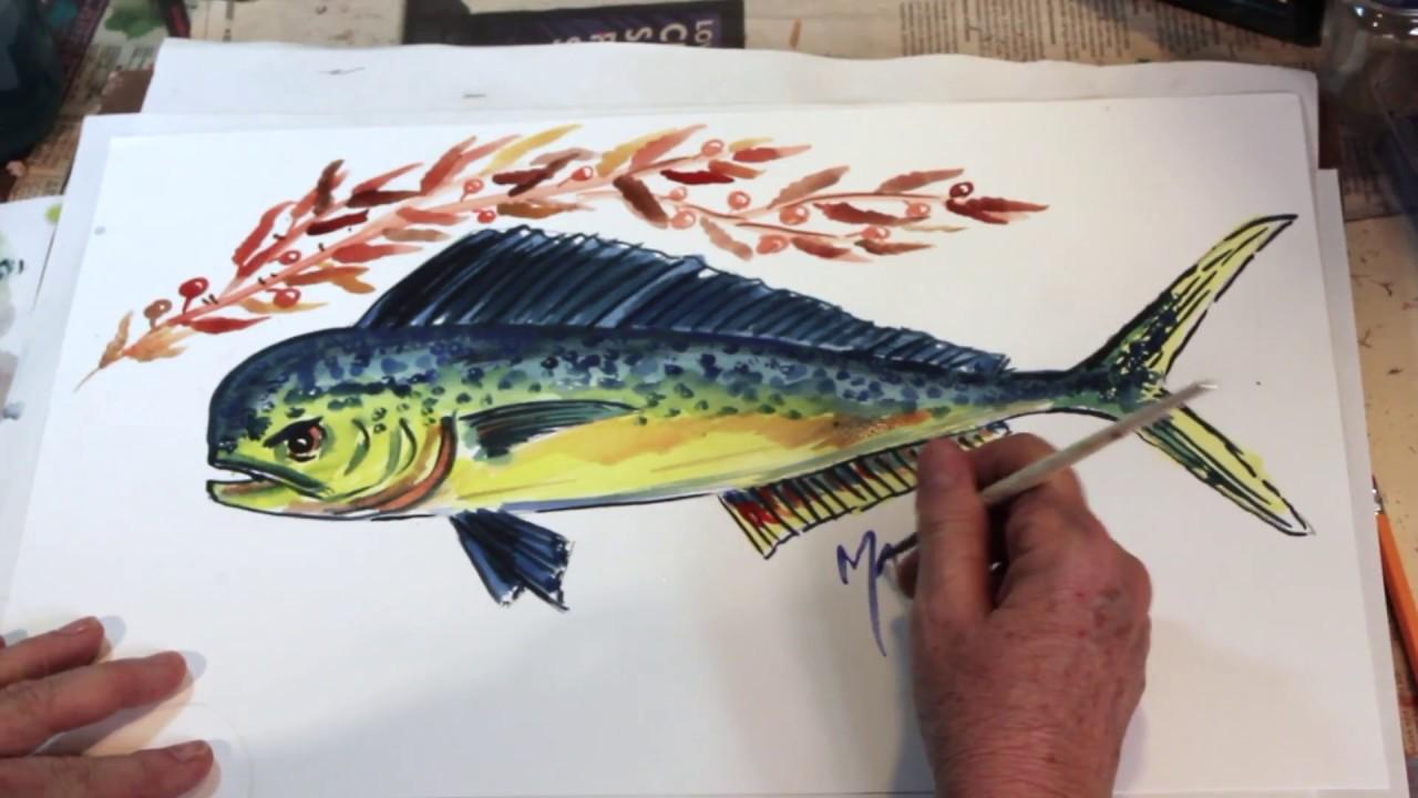 How to draw a fish the easy way mahi mahi dolphin youtube for Easy fishing games
