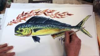 How to Draw a Fish the Easy way - Mahi mahi Dolphin