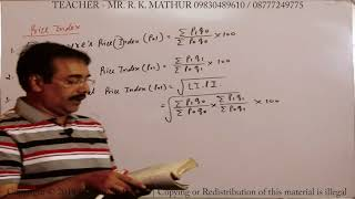 Index Number with Solved Sums | Statistics | Mathematics | Mathur Sir Classes