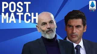 Roma 2-1 Milan | Fonseca & Pioli Post Match Press Conference | Serie A