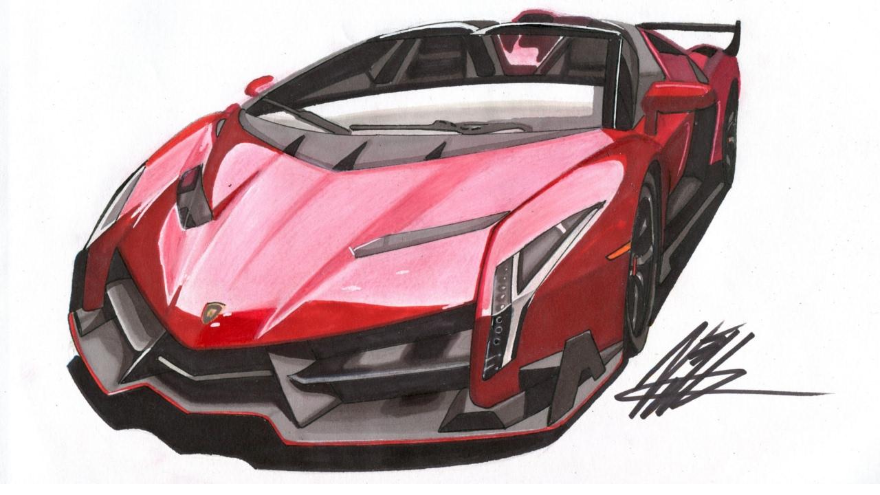 Realistic Car Drawing , Lamborghini Veneno Roadster , Time Lapse