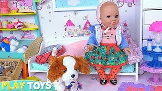 Baby Born Doll Bed Time Dress up & Doggy Play