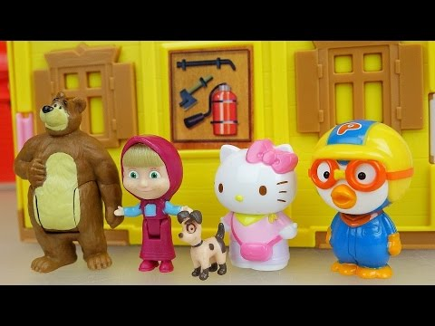 Thumbnail: Marsha and the Bear house with baby doll pororo and hello Kitty toys play