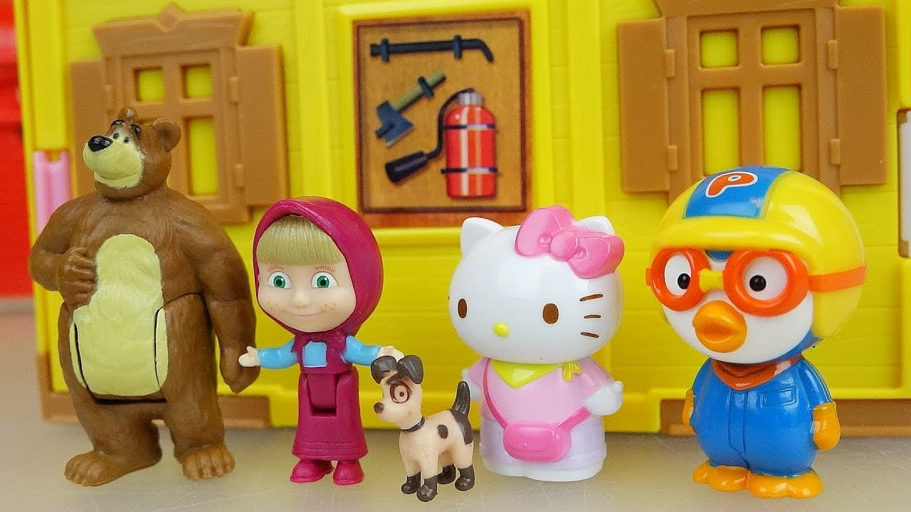 Marsha And The Bear House With Baby Doll Pororo And Hello