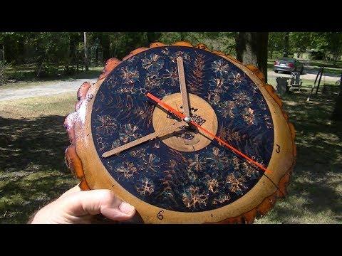 Clock with Sassafas, Gum Balls, Pine Cones in Epoxy # 96