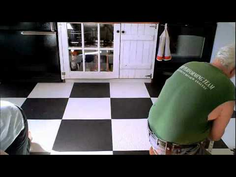 new rubber tile floor put down in kitchen - youtube