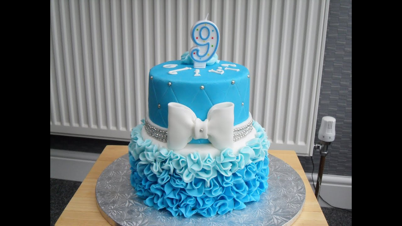 Olivias 9th Birthday Ruffle Ombre Cake YouTube