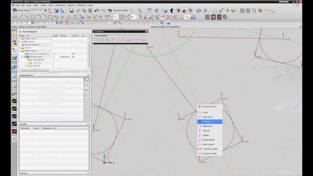 SPLM Siemens NX 7.5 , NX 8 Skizze - YouTube