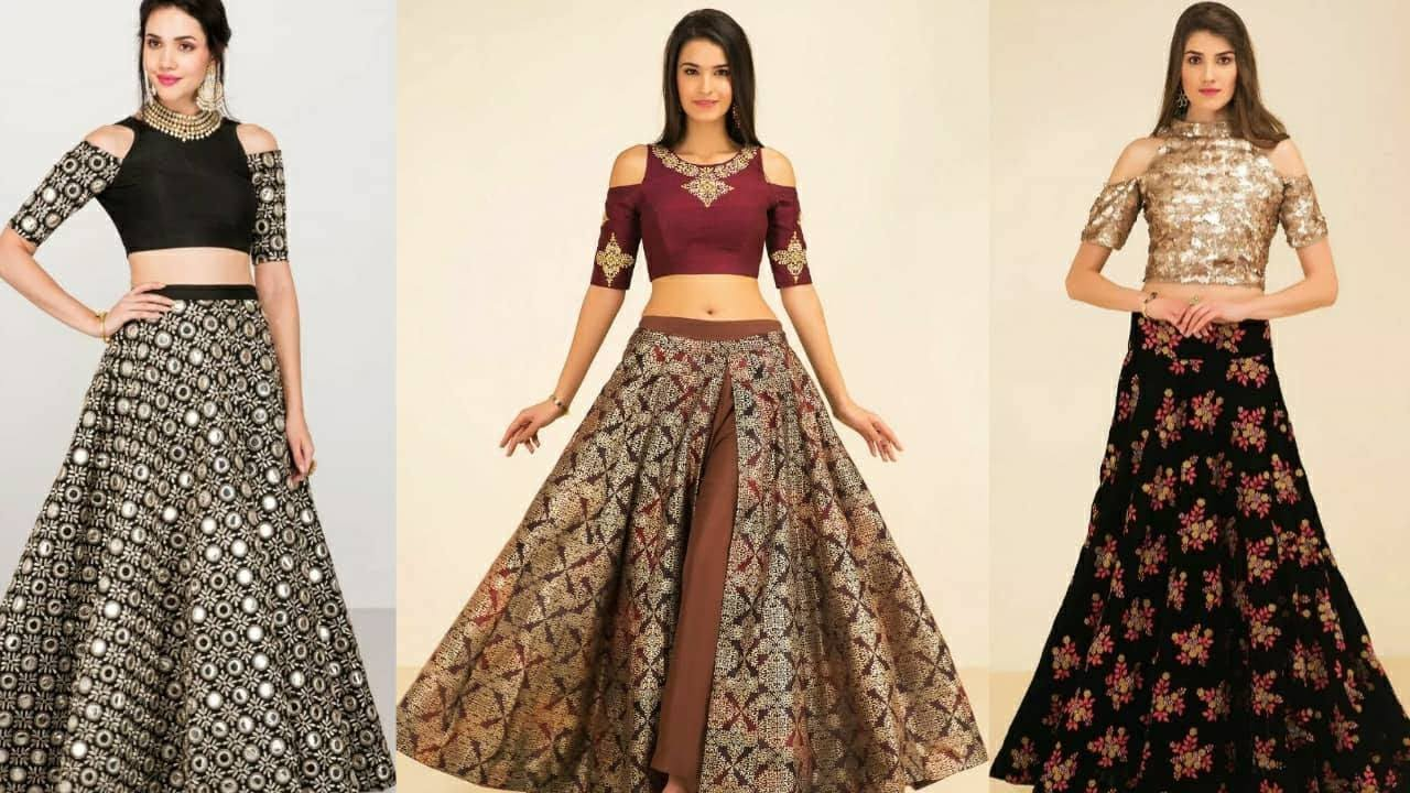 bad54ff2f6 Latest Trendy designer crop top with long skirt 2017-2018| Women Lahenga  with crop top|Trendy India1