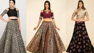 Latest Trendy designer crop top with long skirt 2017-2018  Women Lahenga with crop top Trendy India1