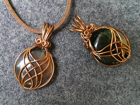 pendant with big stone no holes - wire wrap jewelry making 2