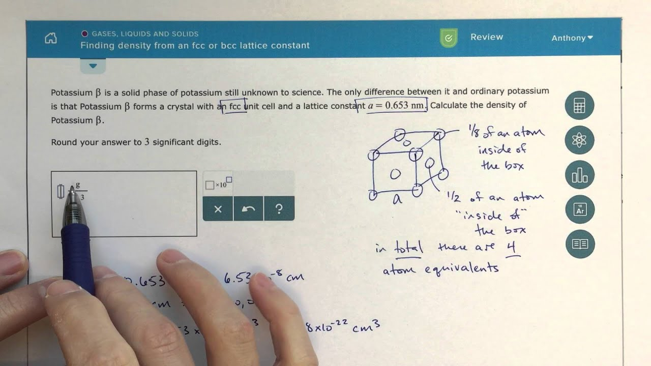 Aleks  Finding Density From An Fcc Or Bcc Lattice Constant