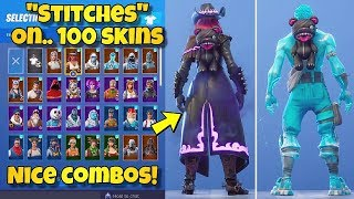 "NEW ""STITCHES"" BACK BLING Showcased With 100+ SKINS! Fortnite Battle Royale - NEW LACE SKIN"