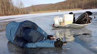 Ice Fishing is a STRUGGLE... (My Dads FIRST Time on the Ice!)