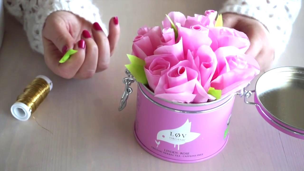 Kleine Rosen zur Dekoration DIY Blumen aus Seidenpapier basteln ...