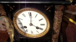 Antique French Slate & Marble Mantle / Mantel Clock With Key  *See Video Below *