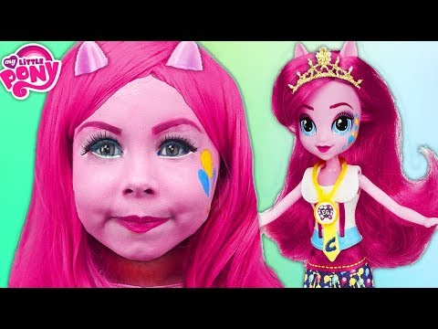 Kids aqua grime MY LITTLE PONY Pinkie Pie Makeup Tutorial! Playing with doll Equestria Girls