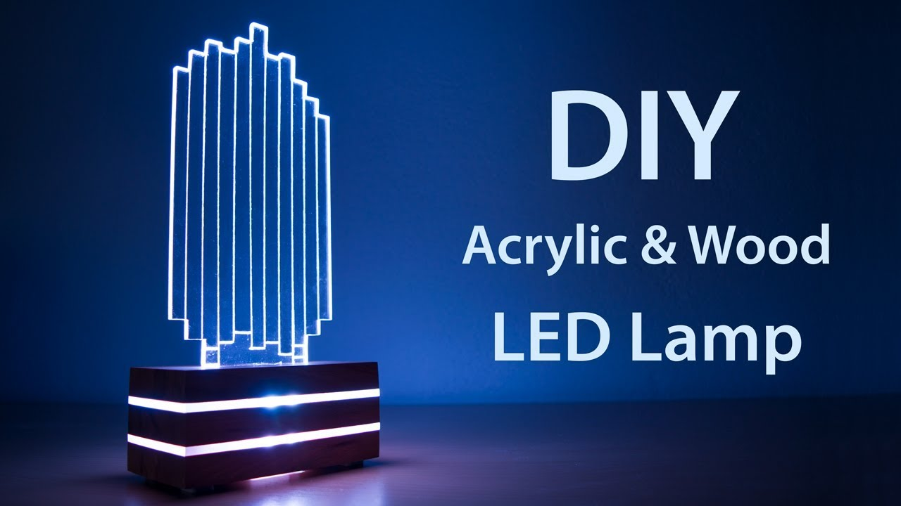 diy acrylic and wood color changing led lamp youtube