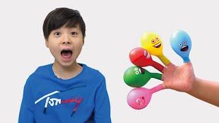 Hide and Seek with balloon 風船の中身はスライム? かくれんぼ 英語 カラー ごっこ遊び こうくんねみちゃん