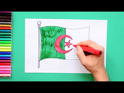 How to draw and color the National Flag of Algeria