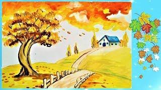 как просто нарисовать осень, осеннее дерево.Paint autumn. Easy painting