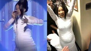 Cardi b reveals she is pregnant on Saturday Night Live. Big BABY BUMP