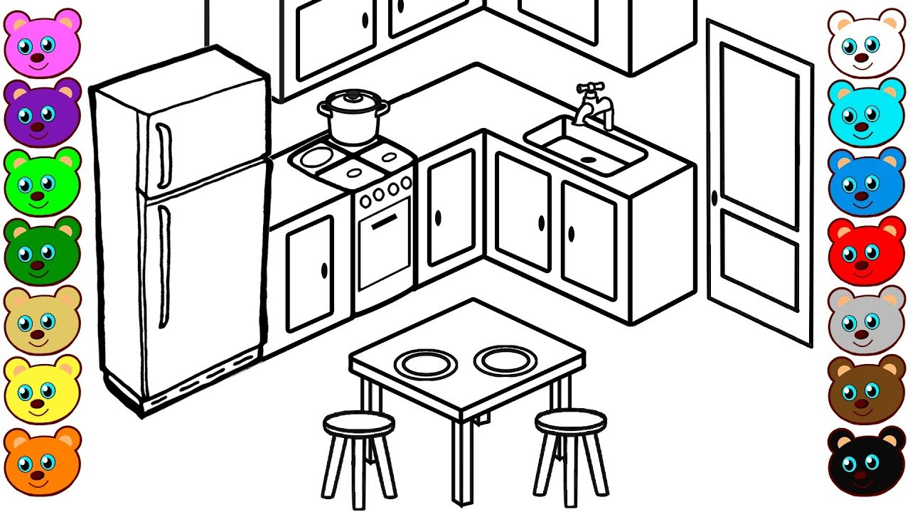 Coloring book kitchen - Learn Colors For Toddlers With 3d Kitchen Room Coloring Book For Kids