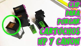 Como usar el clip para purgar (sacar aire) para cartuchos de tinta HP y CANON