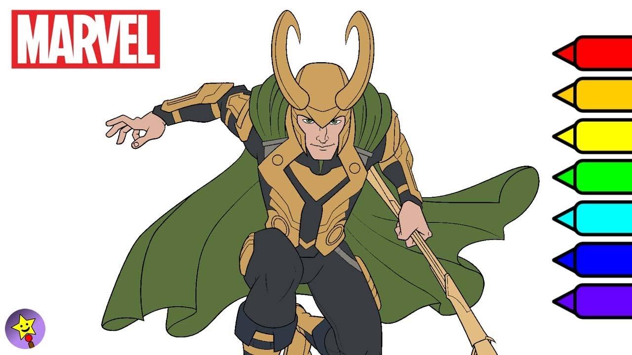 Marvel Avengers Coloring Book Loki Coloring Page Marvel Superhero Coloring  Book Page
