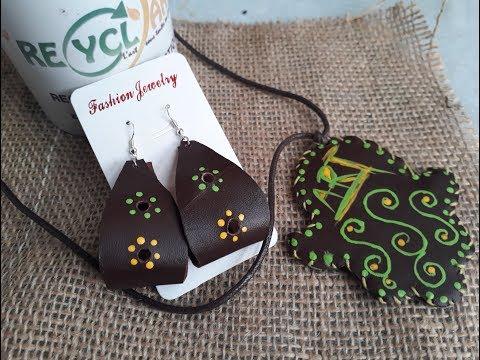 شاهدوا كيف اصنع إكسسواراتي بنفسي وبخامات طبيعية ومسترجعة. Khamssa leather necklace