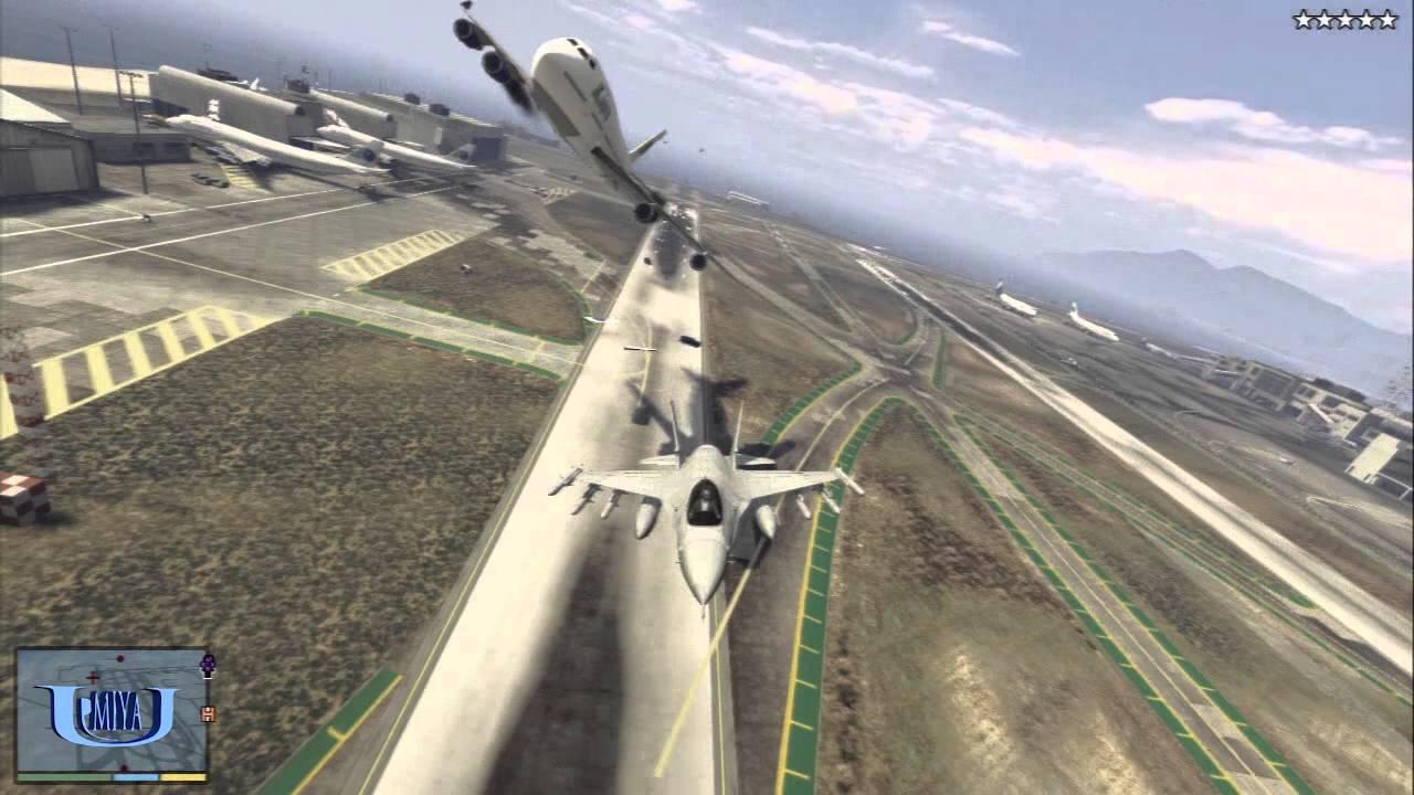 GTA5】戦闘機で飛行機を撃墜する! - YouTube