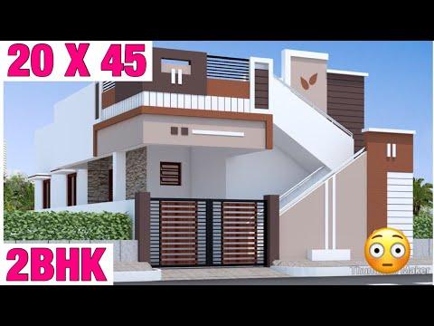20-x-45-,-house-design-,-plan-map-,-2bhk-,-3d-view-elevation-,-car-parking-,-lawn-garden-,-map-vastu