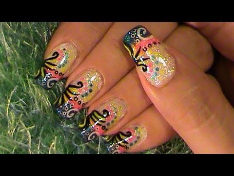 crazy colorful lisa frank nail