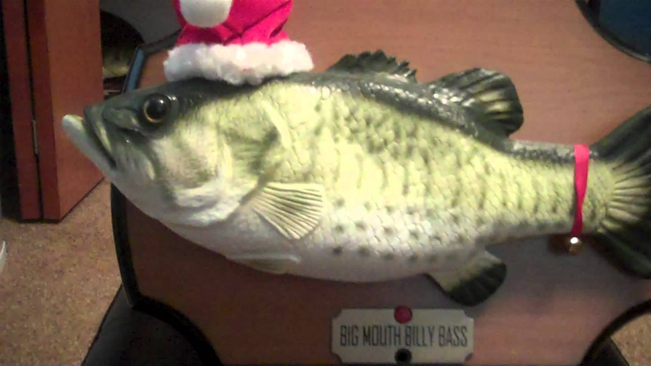 Big mouth billy bass singing christmas fish youtube for Talking bass fish