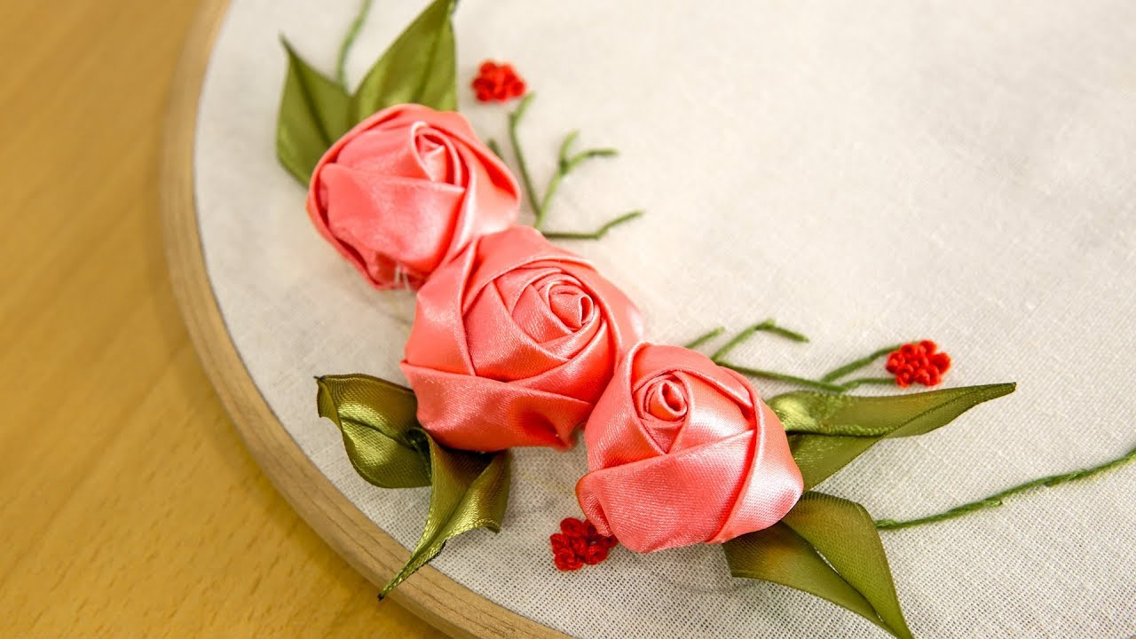 Diy Ribbon Rose Tutorial Embroidery Flowers