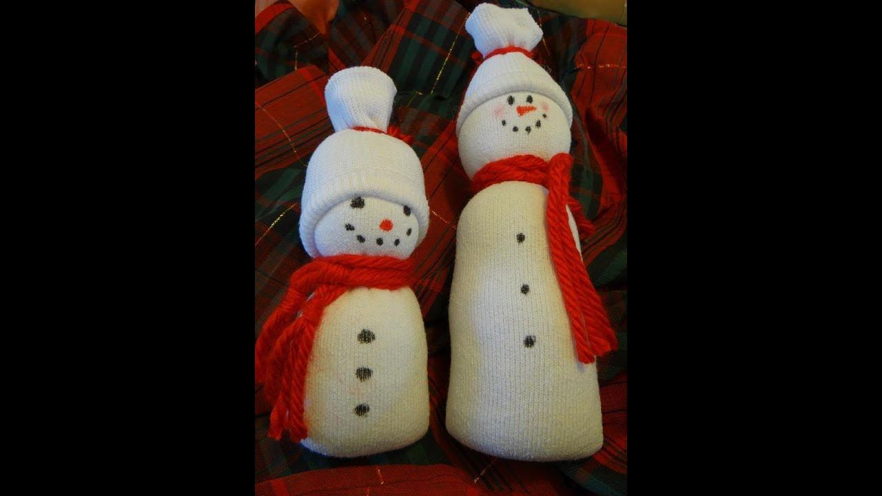 Easy Sock Snowman Tutorial With Ashley Youtube