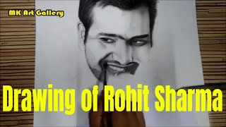 Drawing of Rohit Sharma | Charcoal Pencil Sketch | Pencil Shading & Blending | Pencil Drawing