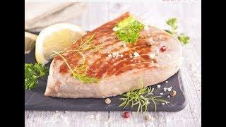 нежный стейк тунца в сливочном соусе